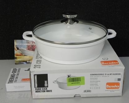Picture of <outlet> Berndes 032167 Vario Click Induction White Aluguss Schmorkasserolle Keramik mit Glasdeckel 28 cm, 3,8 l